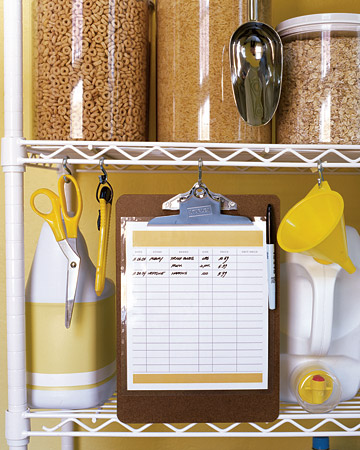 In your kitchen cabinet or pantry, use S hooks to hold an inventory list -- so you know what you have, as well as how much you paid per unit, for the sake of future comparison shopping.