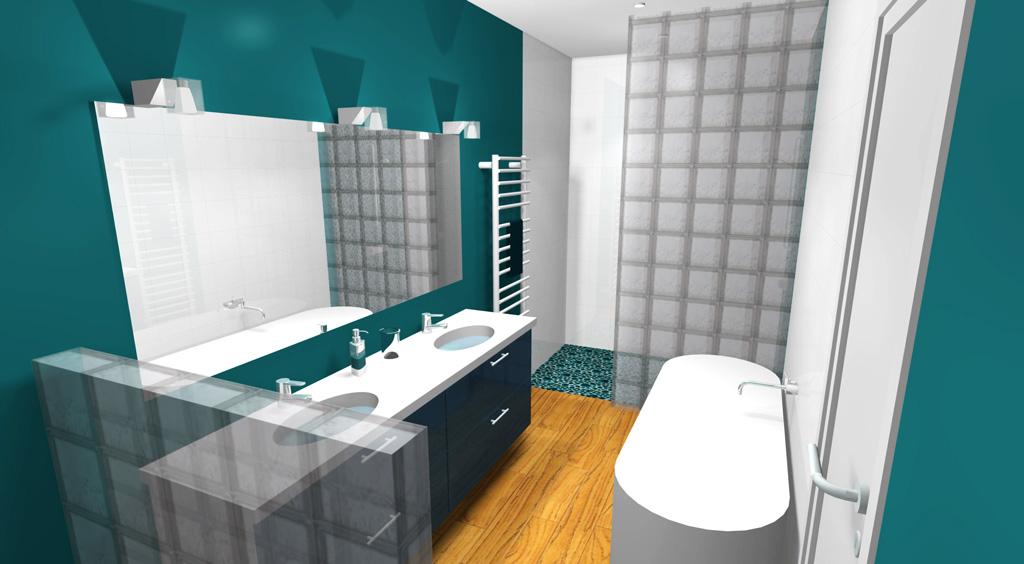 Salle de bain bleu canard for Carrelage salle de bain bleu