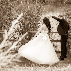 A spin into the past by FIWAT Photography - Wedding Bride & Groom ( wedding, bride dress, bride, groom )