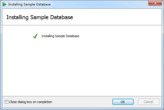 Sample database successfully installed
