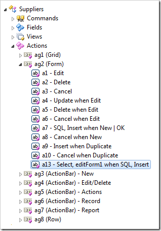 Action 'a13 - Select,editForm when SQL, Insert' selected in Project Explorer