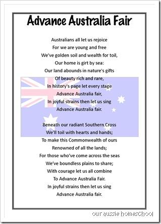 Our Aussie Homeschool ~ Advance Australia Fair- free printable
