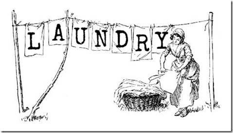 Clip Art LAUNDRY WOMAN LABEL