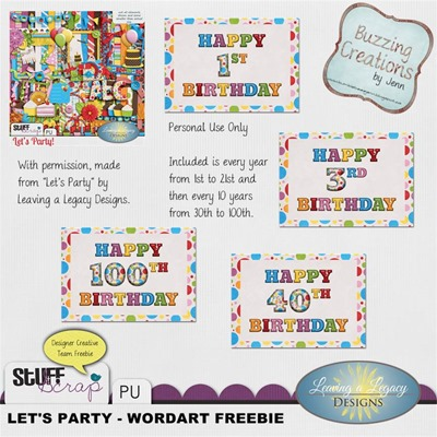 Leaving a Legacy Designs - Let's Party - Wordart Freebie Preview