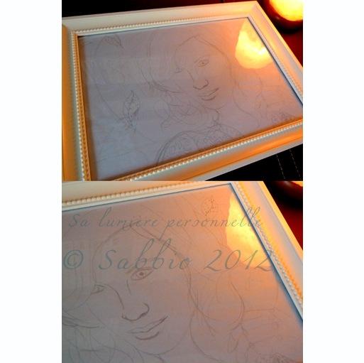 Sa lumière personnelle dessin original encadré