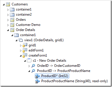 ProductID field from the Order Details controller in Project Explorer.