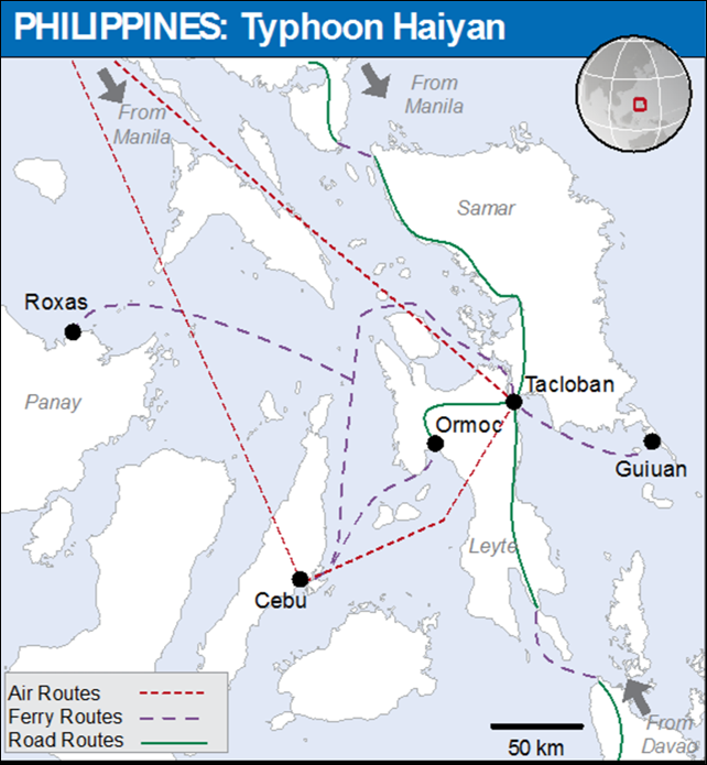 Air, ferry, and road routes for international aid into the Philippines, 16 November 2013. Graphic: OCHA
