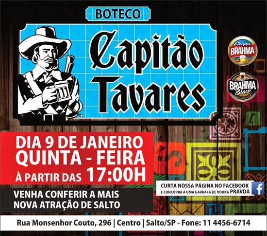 Boteco Capitão Tavares inaugura quinta, dia 09, em Salto