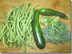 Pole beans, zucchini, and broccoli