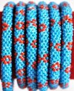rollover bracelet blue flower red