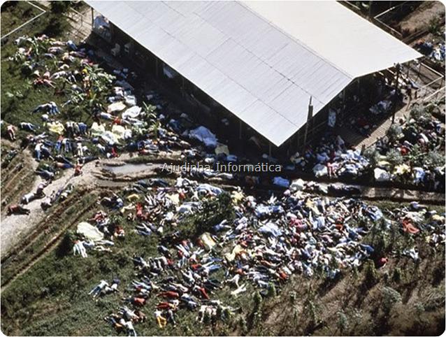 """Começamos pelos 909 adeptos da seita americana """"Templo do Povo"""" que promoveram um suicídio coletivo em Jonestown, a 240km da capital Georgetown, Guiana Inglesa, liderados pelo reverendo James Warren """"Jim"""" Jones. A seita pregava o desapego pelos bens materiais e entrega ao culto da personalidade do seu fundador, que se dizia Deus."""