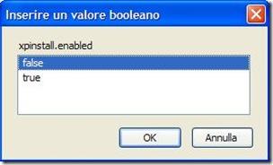 Firefox Inserire un valore booleano