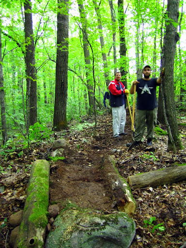 Students from Russian, Oskar and Sergei helping with trail building earlier this month