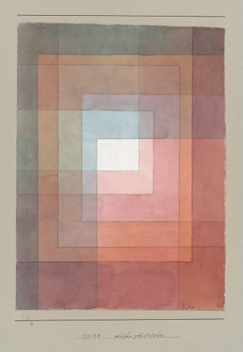 I love the geometric design and colors of this work. Its varied palate makes it suitable for a wide range of rooms.   'White Framed' by Paul Klee.  (artriver.com)