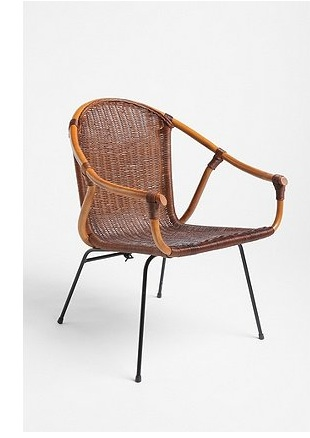 This chair combines modern design with a traditional, rustic finish. It's an interesting piece that would stand out indoors or outdoors.