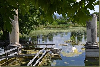 Aphrodisias South Agora pond edge under water