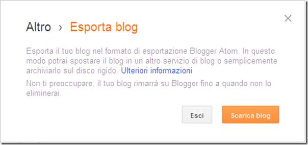 come fare copia backup sicurezza blog blogger