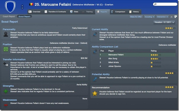 Player report in Football Manager 2012