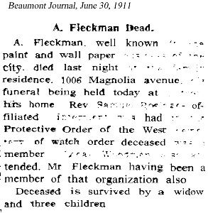 AFleckman-1911-06-30Paper-Beaumont Journal