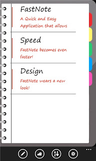 A nice spaced out list of notes. The options at the bottom are New, Skydrive, Sort and Settings