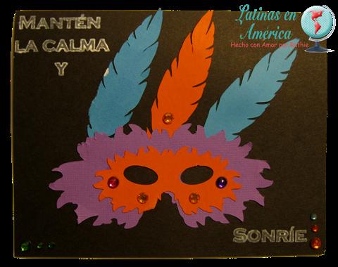 Carnival mardi grass card - Latinas en America - Sellos Dilo en Espanol - Silhouette Camoe - Ruthie Lopez DT