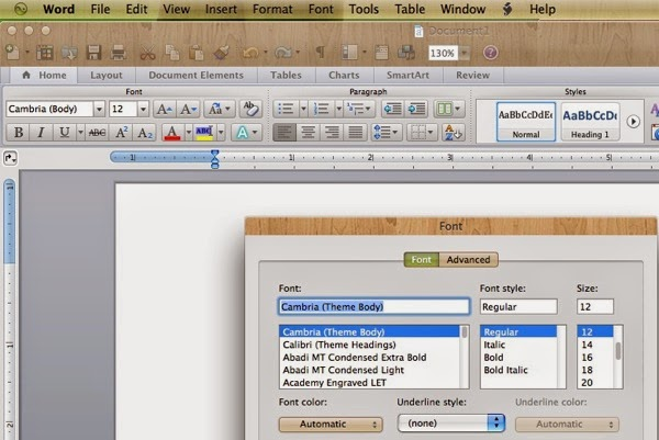 Microsoft  Word for Mac Font menu