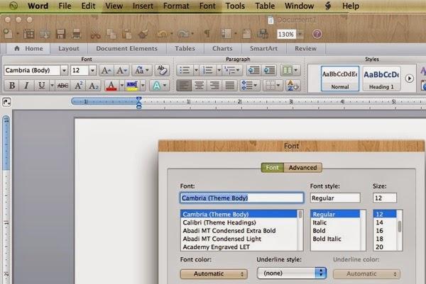 Microsoft  Word for Mac Font menu