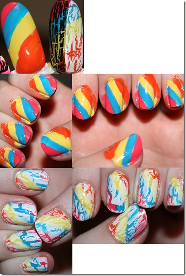Rainbow and White Crackle Nails