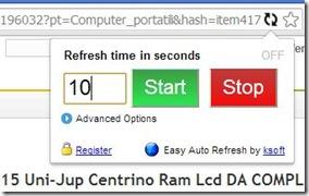 Estensione Easy Auto Refresh Chrome per aggiornare pagine internet in automatico