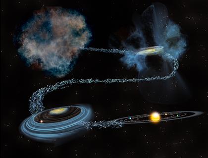 a água na nuvem molecular progenitora do Sol e na incorporação nos planetas