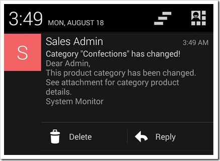 An email notification on an Android device generated by an Email Business Rule of an app produced with Code On Time.