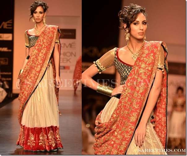 Drape Saree By Shyamal And Bhumika At Lfw Winter Festive
