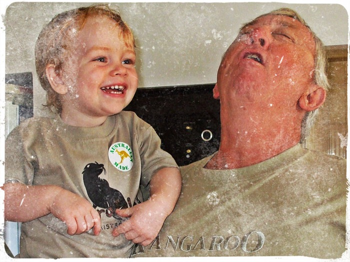 With Grandpa on the day E. was gifted his original seal shirt 2009
