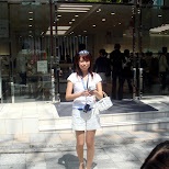 Japanese promo girl infront of Softbank in Harajuku in Harajuku, Tokyo, Japan