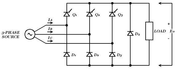 Three-phase bridge using three common-cathode thyristors