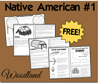 native americans - Woodland Tribes includes 2 free printable books on the Iroquois and the Powhattan, tribe comparisson, and ideas for hands on history for kids