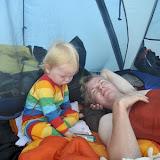 Så er første nat i teltet overstået, og vi har alle fået en god nats søvn - selvom det blev lidt sent!