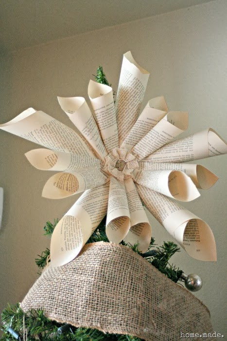 Book Page Star Tree Topper