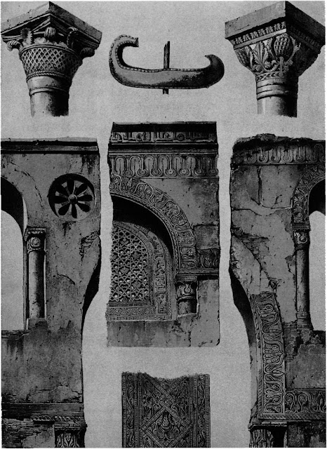 Mosque of Ahmad ibn Tulun, details, 9th century. Prisse contrasts the interior arched spandrels with the decorated arches of the courtyard, which display a broad frieze of stucco rosettes. Stucco- work frames the windows distributed around the whole building. According to Prisse. these helped disburse fragrances of ambergris into the congregation.