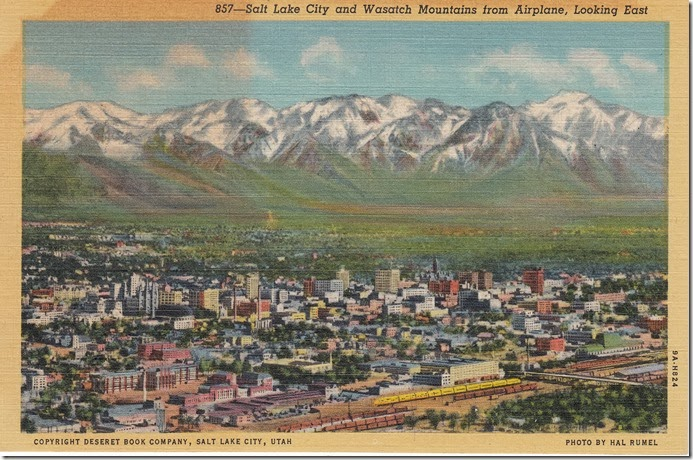 Salt Lake City and Wasatch Mountains, Looking East Postcard pg. 1 - 1939