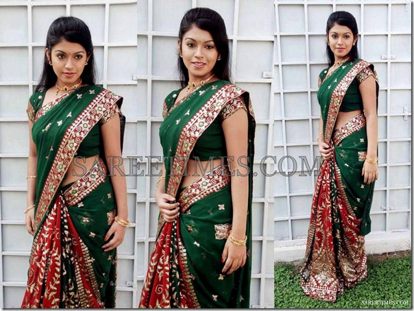 Prathista_Green_Red_Saree