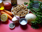 All the ingredients for the Summer Lentil and Chickpea Stew