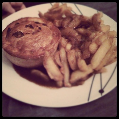 Cheat's supper - Pieminister Deer Santa Christmas special and chip-shop chips!