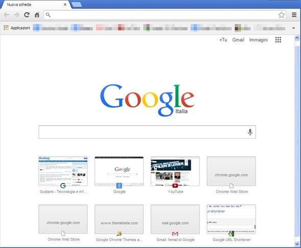 Chrome box di ricerca in Nuova scheda
