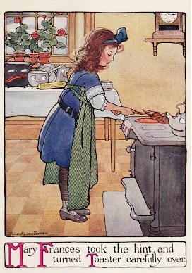 Mary Frances making toast