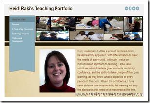 online teacher portfolio using Weebly