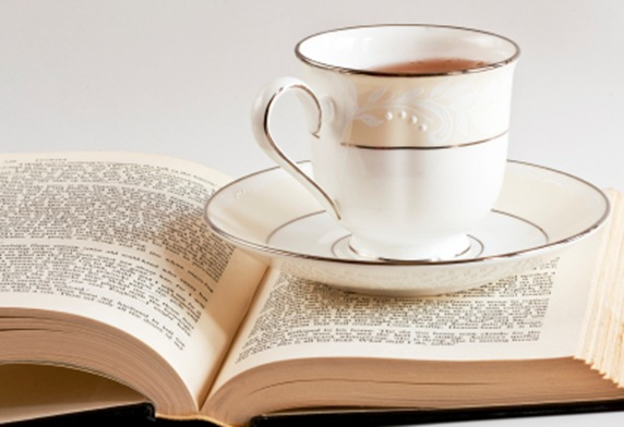 Cup and Saucer on Book