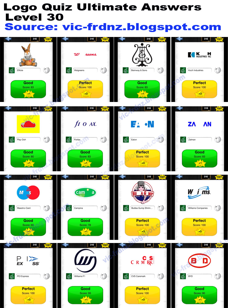 Logo Quiz Level 30 Answers Logo Quiz Ultimate Level 30