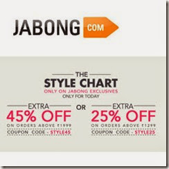 Jabong offer: Clothing, Shoes, Accesories, Bags & Home Furnishing upto 60% off + upto 45% off