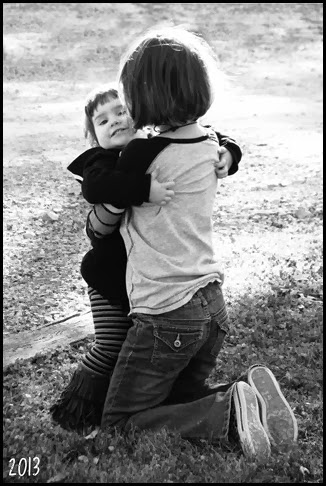 Girls Hug bw